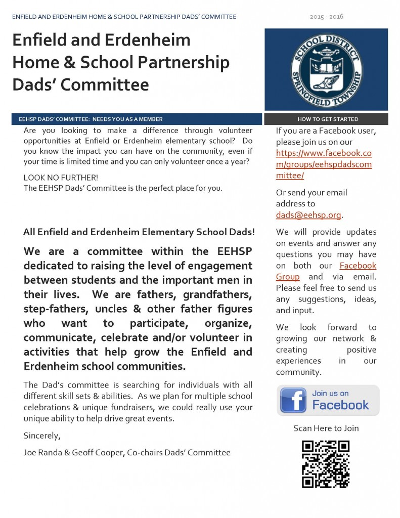 Be a part of the EEHSP Dads' Committee! – Enfield