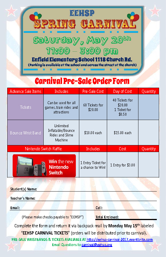EEHSP Carnival Pre-Sale Tickets are Available