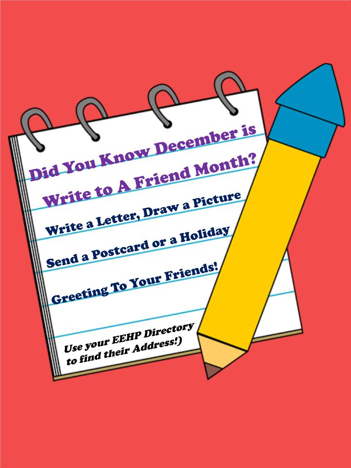 December 2018, National Write a Friend Month – Enfield